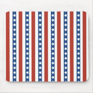 Patriotic Red White Blue Stars and Stripes Freedom Mouse Pad
