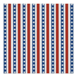 Patriotic Red White Blue Stars and Stripes Freedom Poster
