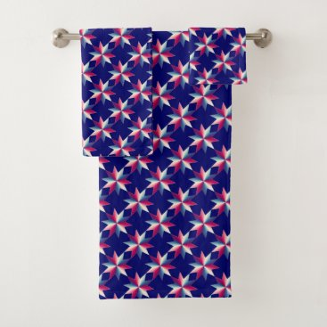 USA Themed Patriotic Red White Blue Stars Pattern Bath Towels