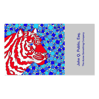 Patriotic Red White & Blue Tiger Art Business Card