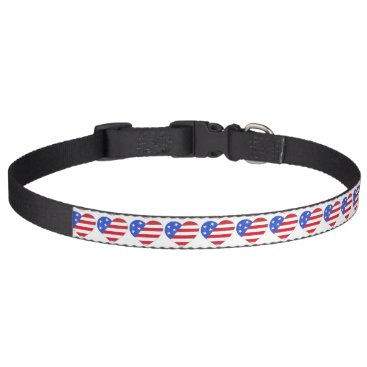 USA Themed Patriotic Red White Blue USA American Flag Heart Pet Collar