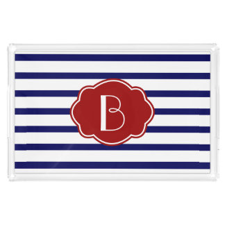 Patriotic Red White & Blue, w Stripes & Initial Acrylic Tray