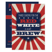 Patriotic Red White & Brew Custom Invitation