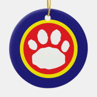 Patriotic Red, Yellow and Blue Paw Print Ceramic Ornament