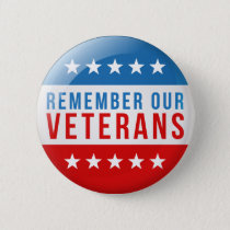 Patriotic Remember our veteran day red blue flag Button