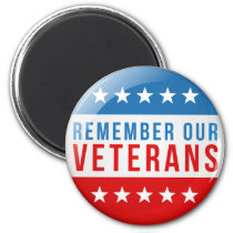 Patriotic Remember our veteran day red blue flag Magnet