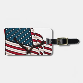 Patriotic Respect with Bald Eagle and USA flag Bag Tag