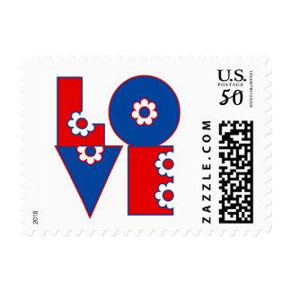Patriotic Retro LOVE Square Postage