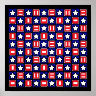 Patriotic Retro RWB Stars & Bars Poster