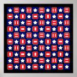 Patriotic Retro RWB Stars & Bars Print