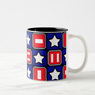Patriotic Retro RWB Stars & Bars Two-Tone Coffee Mug