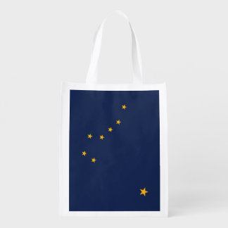 Patriotic reusable grocery bag with Alaska Flag