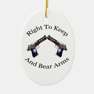 Patriotic Right To Keep And Bear Arms Double-Sided Oval Ceramic Christmas Ornament