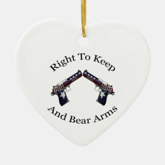 Patriotic Right To Keep And Bear Arms Double-Sided Heart Ceramic Christmas Ornament