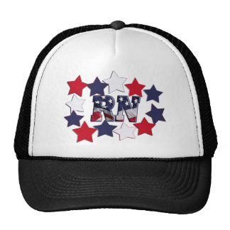 PATRIOTIC RN WITH STARS RED WHITE & BLUE TRUCKER HAT