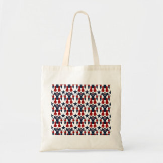 Patriotic Robot Soldier Red White Blue Stars USA Canvas Bag
