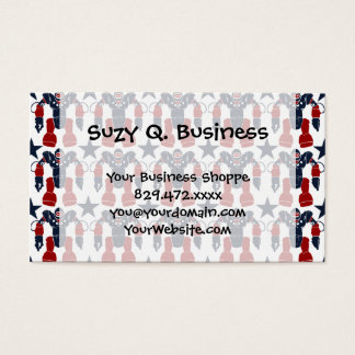 Patriotic Robot Soldier Red White Blue Stars USA Business Card