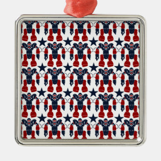 Patriotic Robot Soldier Red White Blue Stars USA Christmas Tree Ornaments