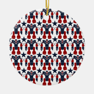 Patriotic Robot Soldier Red White Blue Stars USA Christmas Ornament
