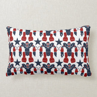 Patriotic Robot Soldier Red White Blue Stars USA Throw Pillow