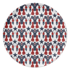 Patriotic Robot Soldier Red White Blue Stars USA Plates