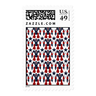 Patriotic Robot Soldier Red White Blue Stars USA Stamps