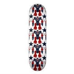 Patriotic Robot Soldier Red White Blue Stars USA Skateboard Decks
