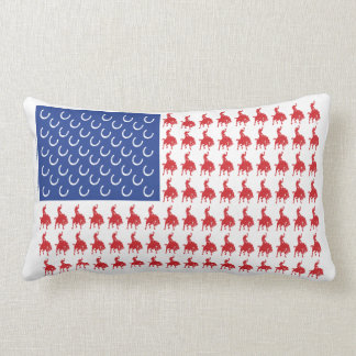 Patriotic Rodeo Cowboy Lumbar Pillow