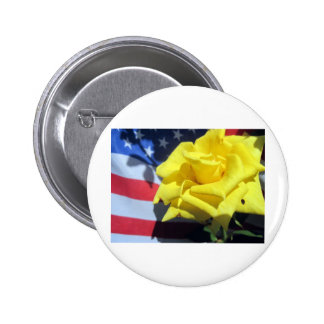 Patriotic Rose 2 Inch Round Button
