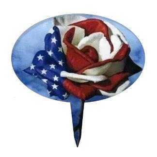 Patriotic Rose Cake Topper