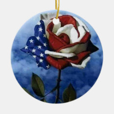 Patriotic Rose Ceramic Ornament at Zazzle