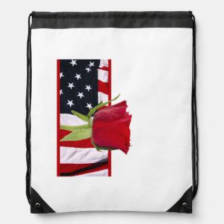 Patriotic Rose Drawstring Bag