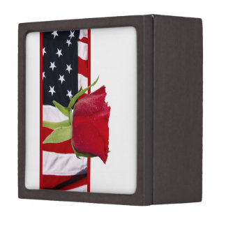 Patriotic Rose Jewelry Box