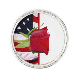 Patriotic Rose Lapel Pin