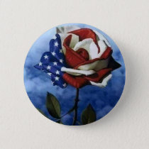 Patriotic Rose Pinback Button