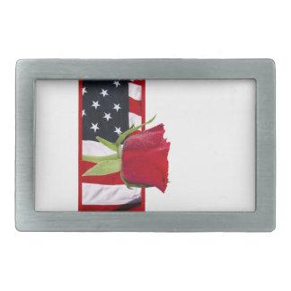 Patriotic Rose Rectangular Belt Buckle
