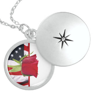 Patriotic Rose Sterling Silver Necklace