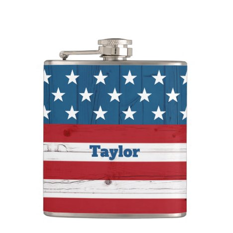 Patriotic Rustic Country Stars & Stripes USA Flag Flask