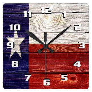 Patriotic Rustic Texas Flag on wood texture Square Wall Clock