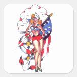 Patriotic Sailor Girl Tattoo Art Square Sticker