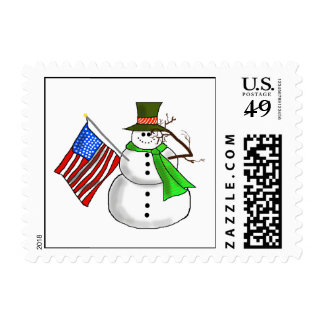 Patriotic Saluting Snowman Christmas Stamp