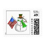 Patriotic Saluting Snowman Christmas Stamp