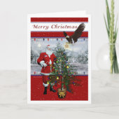 Patriotic Santa blank Merry Christmas Card
