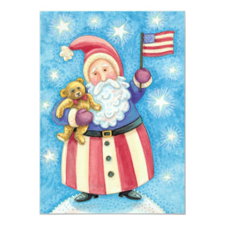 Patriotic Santa Claus Christmas Party Invitation at Zazzle