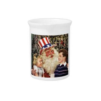 Patriotic Santa Claus Pitcher
