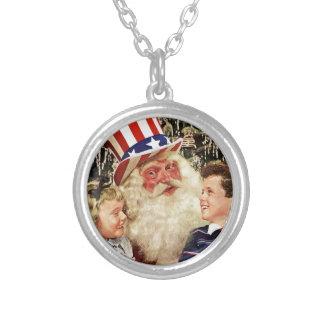 Patriotic Santa Claus Silver Plated Necklace