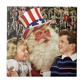 Patriotic Santa Claus Tile
