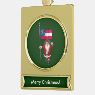 Patriotic Santa Claus Visiting Georgia Gold Plated Banner Ornament