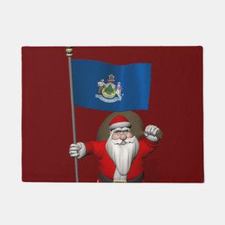 Patriotic Santa Claus Visiting Maine Doormat