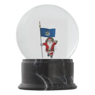 Patriotic Santa Claus Visiting Maine Snow Globe